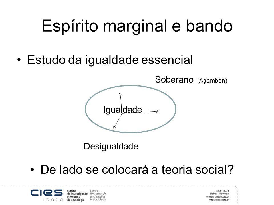 Espírito marginal e bando Estudo da igualdade essencial Desigualdade Soberano (Agamben) Igualdade De lado se colocará a teoria social?