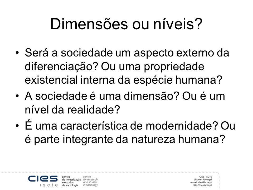 Dimensões ou níveis? Será a sociedade um aspecto externo da diferenciação? Ou uma propriedade existencial interna da espécie humana? A sociedade é uma