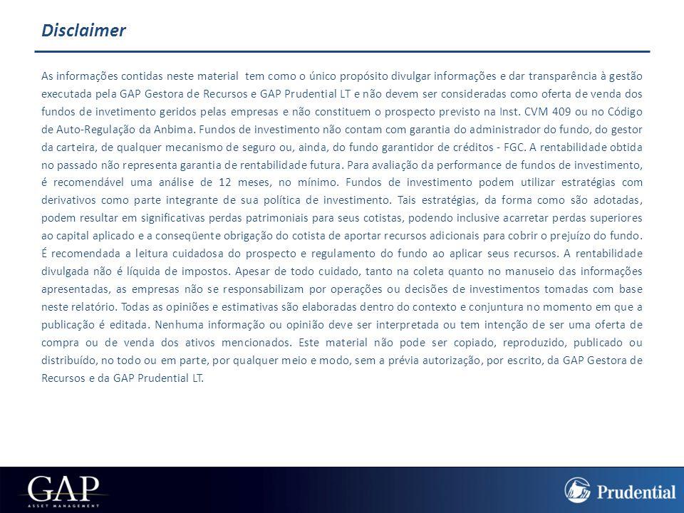 GAP PRUDENTIAL  A GAP ASSET MANAGEMENT foi fundada em 1996 e atualmente, é uma das maiores empresas independentes de gestão de recursos do país.