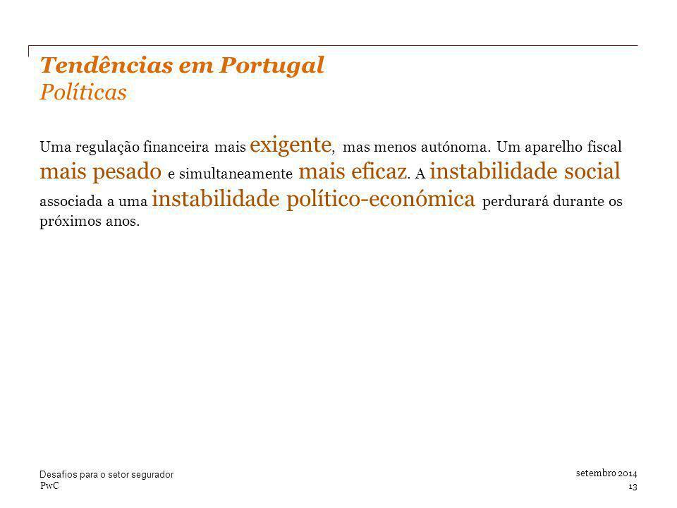 Tendências em Portugal Políticas Uma regulação financeira mais exigente, mas menos autónoma.