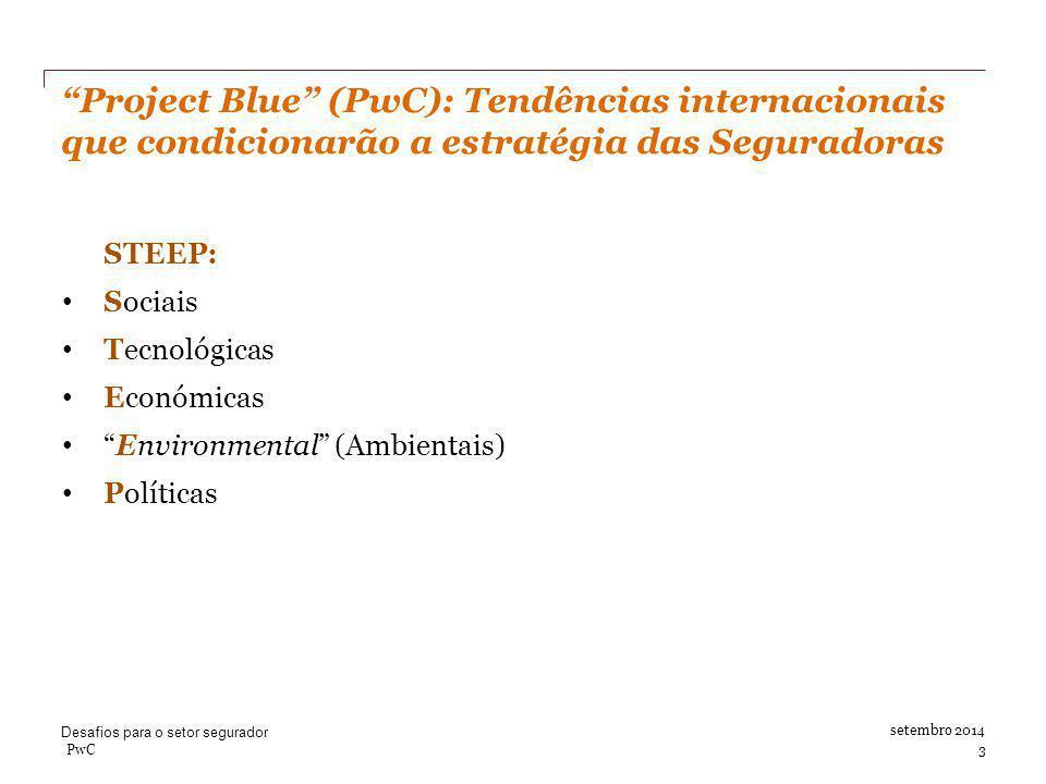 Project Blue (PwC): Tendências internacionais que condicionarão a estratégia das Seguradoras setembro 2014 STEEP: Sociais Tecnológicas Económicas Environmental (Ambientais) Políticas Desafios para o setor segurador PwC 3