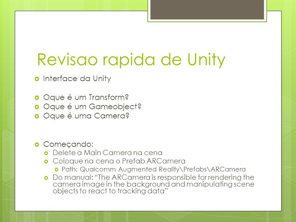 Revisao rapida de Unity  Interface da Unity  Oque é um Transform?  Oque é um Gameobject?  Oque é uma Camera?  Começando:  Delete a Main Camera n