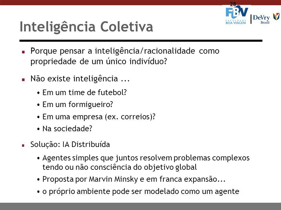 28 Inteligência Coletiva n Porque pensar a inteligência/racionalidade como propriedade de um único indivíduo? n Não existe inteligência... Em um time