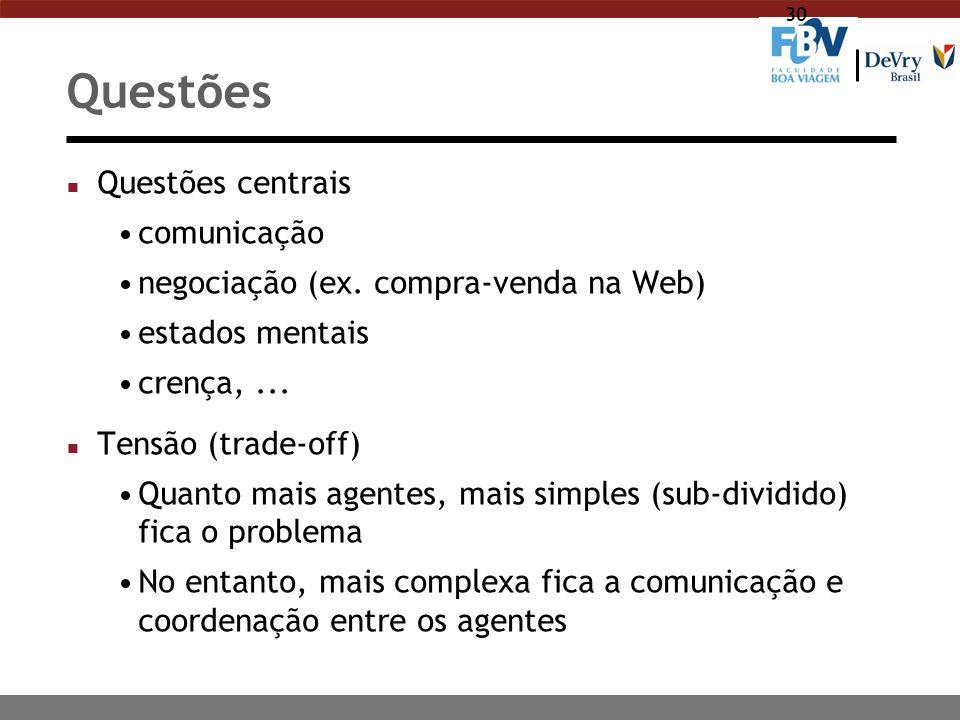 30 Questões n Questões centrais comunicação negociação (ex. compra-venda na Web) estados mentais crença,... n Tensão (trade-off) Quanto mais agentes,