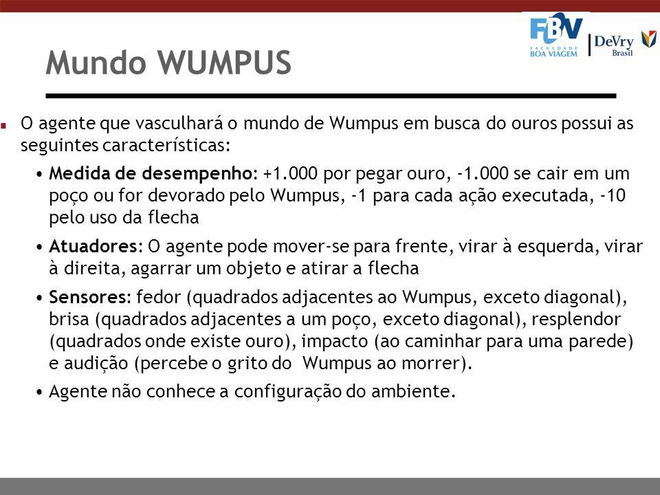 Mundo WUMPUS n O agente que vasculhará o mundo de Wumpus em busca do ouros possui as seguintes características: Medida de desempenho: +1.000 por pegar