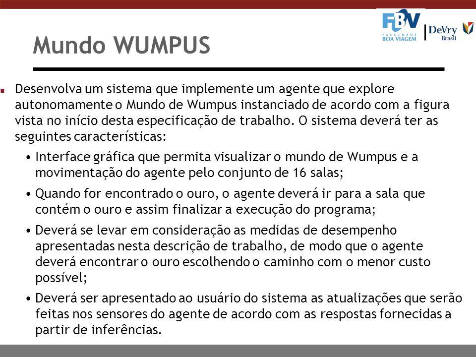 Mundo WUMPUS n Desenvolva um sistema que implemente um agente que explore autonomamente o Mundo de Wumpus instanciado de acordo com a figura vista no