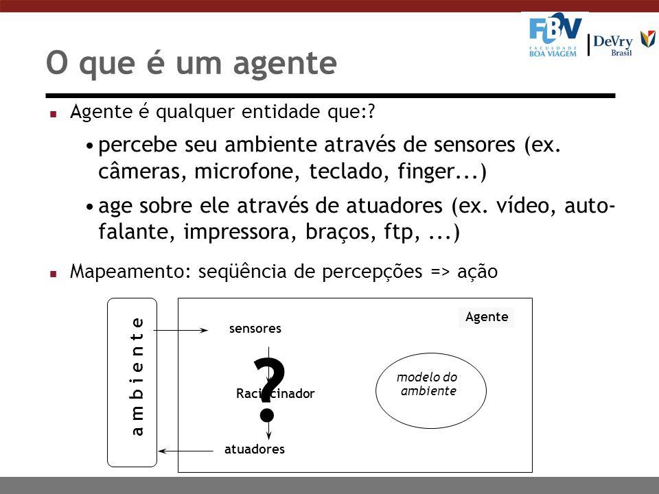 sensores Agente atuadores a m b i e n t e Raciocinador modelo do ambiente O que é um agente n Agente é qualquer entidade que:? percebe seu ambiente at