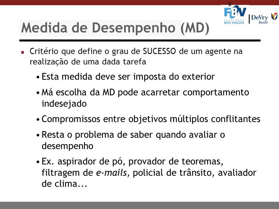 6 Medida de Desempenho (MD) n Critério que define o grau de SUCESSO de um agente na realização de uma dada tarefa Esta medida deve ser imposta do exte