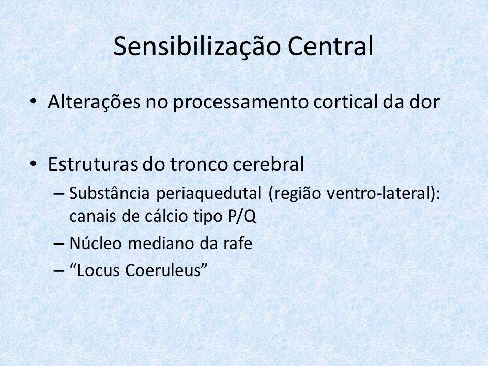 Sensibilização Central Alterações no processamento cortical da dor Estruturas do tronco cerebral – Substância periaquedutal (região ventro-lateral): canais de cálcio tipo P/Q – Núcleo mediano da rafe – Locus Coeruleus