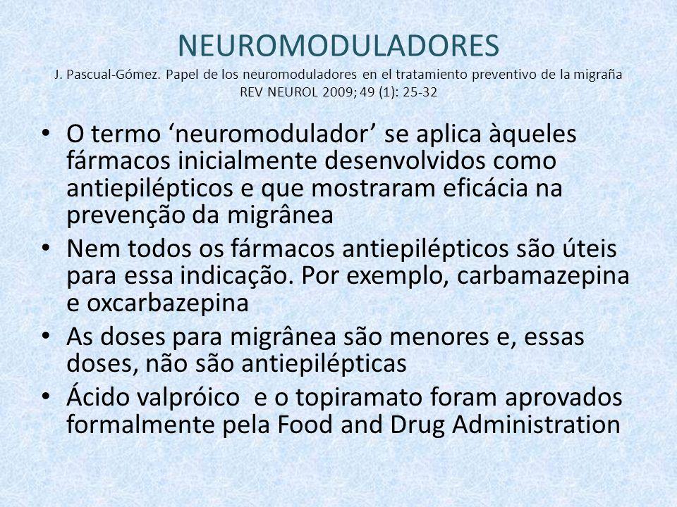 O termo 'neuromodulador' se aplica àqueles fármacos inicialmente desenvolvidos como antiepilépticos e que mostraram eficácia na prevenção da migrânea Nem todos os fármacos antiepilépticos são úteis para essa indicação.