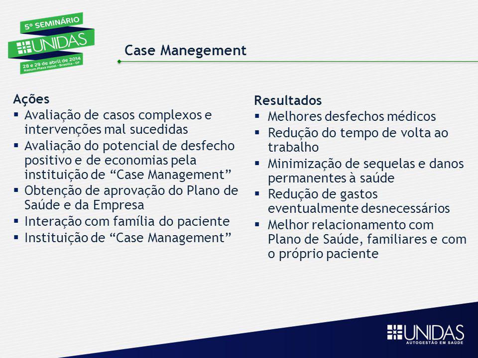 Case Manegement Resultados  Melhores desfechos médicos  Redução do tempo de volta ao trabalho  Minimização de sequelas e danos permanentes à saúde