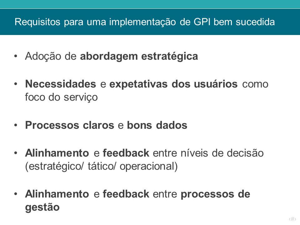 ‹#› Requisitos para uma implementação de GPI bem sucedida Adoção de abordagem estratégica Necessidades e expetativas dos usuários como foco do serviço