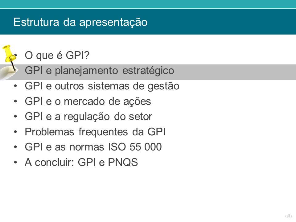 ‹#› Estrutura da apresentação O que é GPI? GPI e planejamento estratégico GPI e outros sistemas de gestão GPI e o mercado de ações GPI e a regulação d