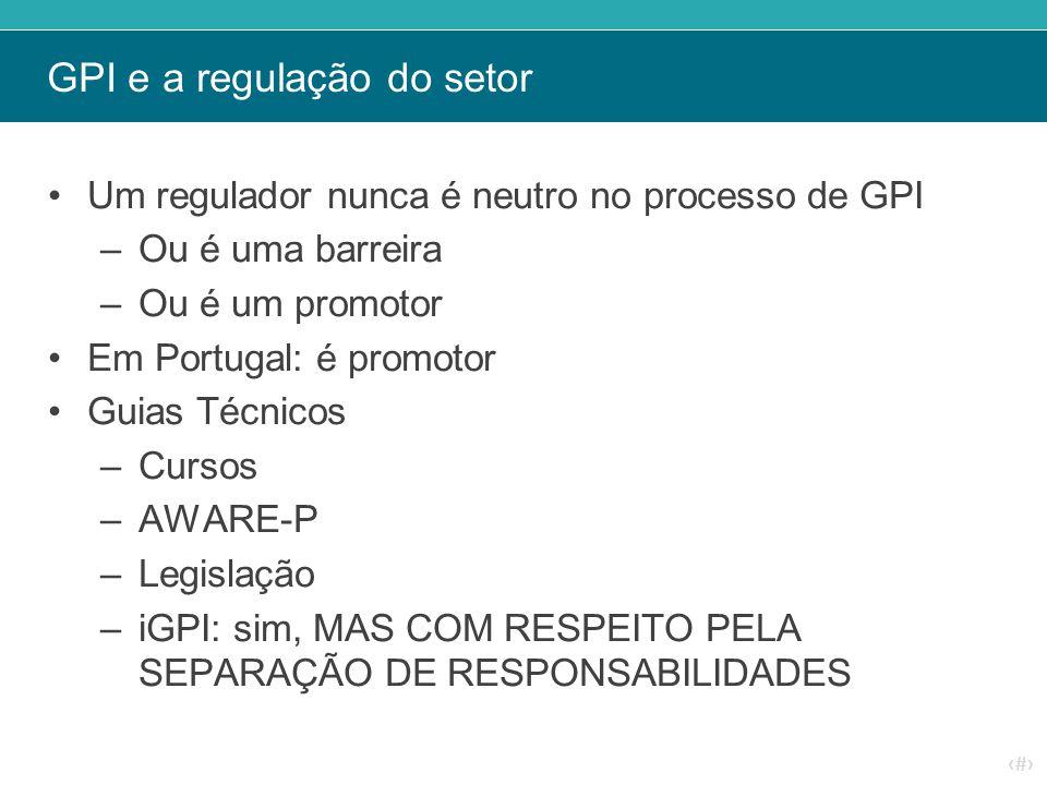 ‹#› GPI e a regulação do setor Um regulador nunca é neutro no processo de GPI –Ou é uma barreira –Ou é um promotor Em Portugal: é promotor Guias Técni