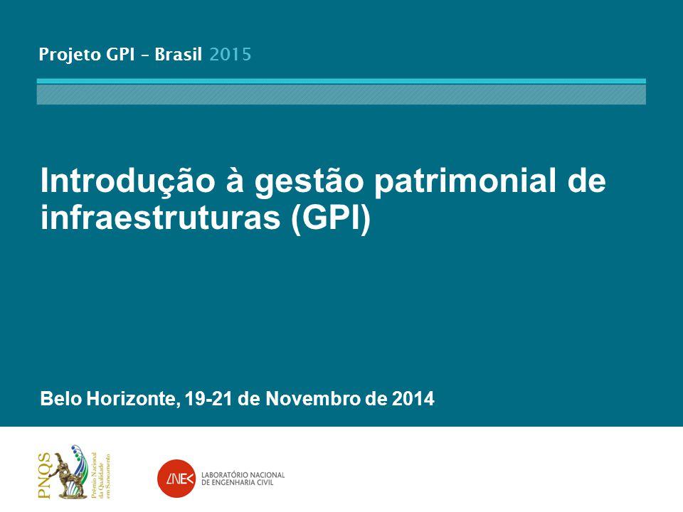 Projeto GPI – Brasil 2015 Introdução à gestão patrimonial de infraestruturas (GPI) Belo Horizonte, 19-21 de Novembro de 2014