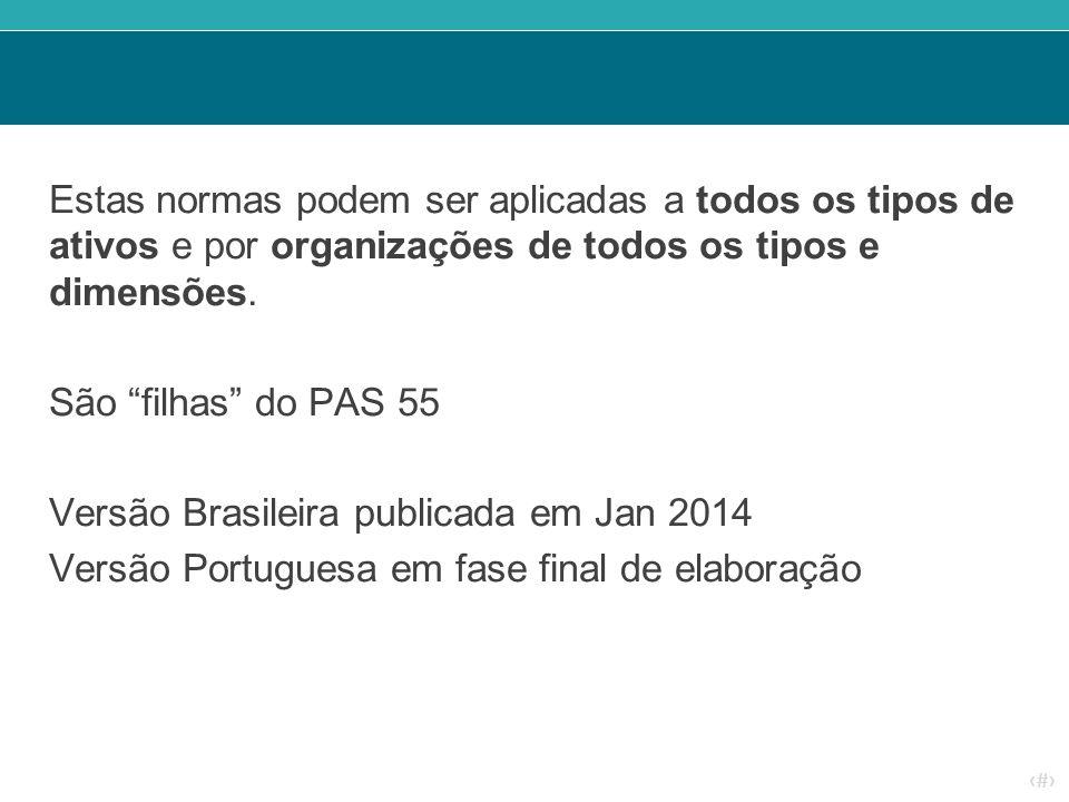 """‹#› Estas normas podem ser aplicadas a todos os tipos de ativos e por organizações de todos os tipos e dimensões. São """"filhas"""" do PAS 55 Versão Brasil"""