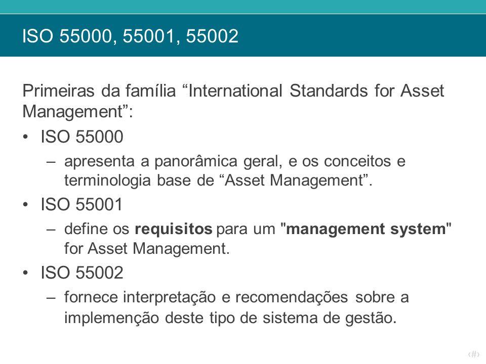 """‹#› ISO 55000, 55001, 55002 Primeiras da família """"International Standards for Asset Management"""": ISO 55000 –apresenta a panorâmica geral, e os conceit"""