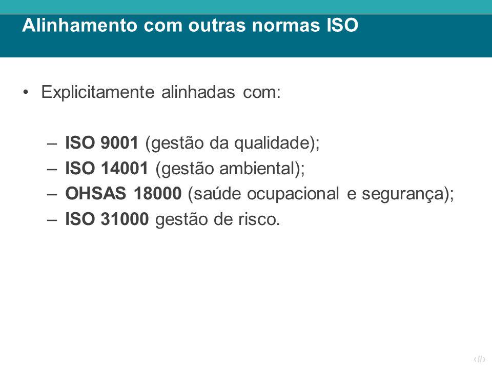 ‹#› Alinhamento com outras normas ISO Explicitamente alinhadas com: –ISO 9001 (gestão da qualidade); –ISO 14001 (gestão ambiental); –OHSAS 18000 (saúd