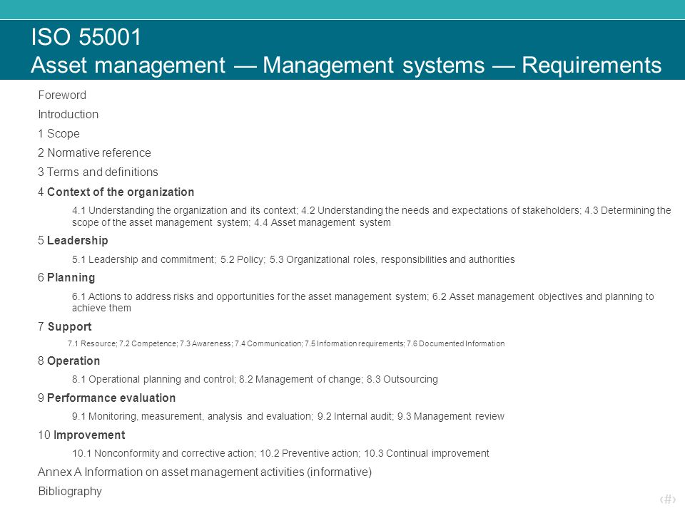 ‹#› ISO 55001 Asset management — Management systems — Requirements Foreword Introduction 1 Scope 2 Normative reference 3 Terms and definitions 4 Conte