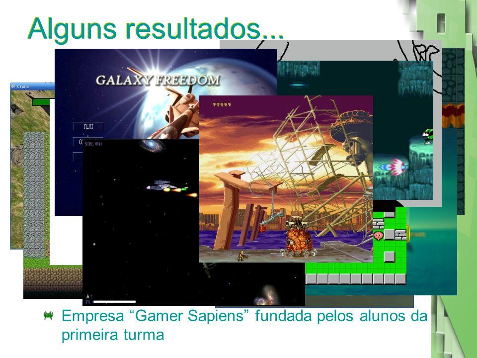 """Alguns resultados... Diversos jogos criados pelos alunos da pós Empresa """"Gamer Sapiens"""" fundada pelos alunos da primeira turma"""