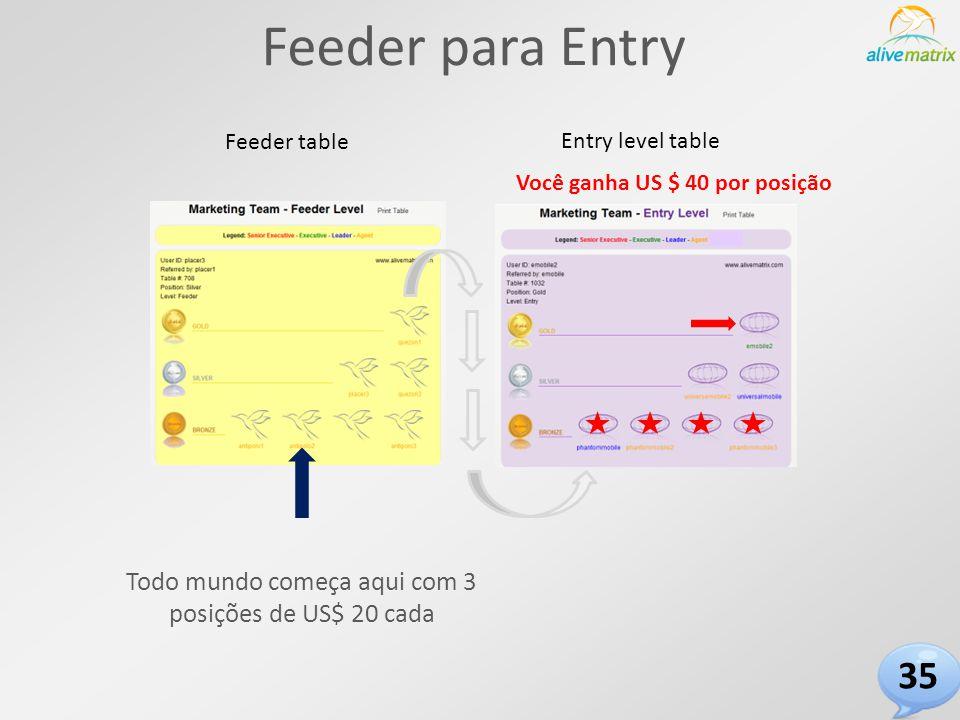 Feeder para Entry Entry level table Feeder table Você ganha US $ 40 por posição Todo mundo começa aqui com 3 posições de US$ 20 cada 35