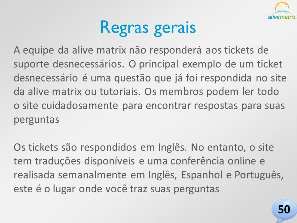 A equipe da alive matrix não responderá aos tickets de suporte desnecessários.
