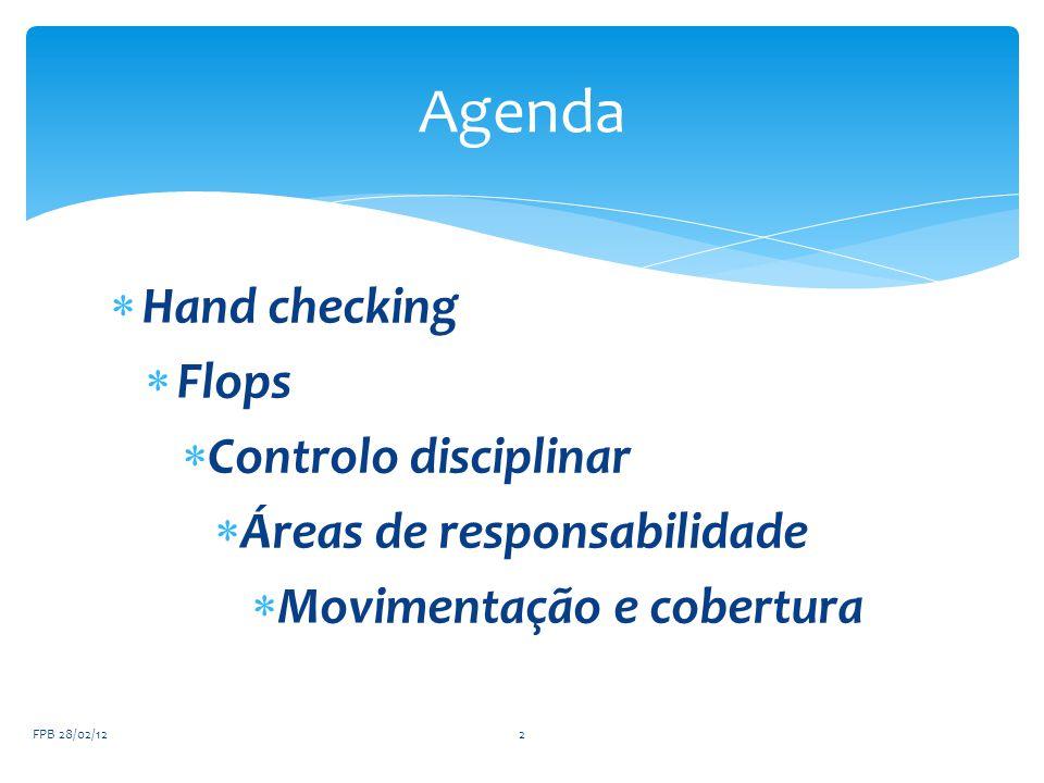  Hand checking  Flops  Controlo disciplinar  Áreas de responsabilidade  Movimentação e cobertura FPB 28/02/122 Agenda