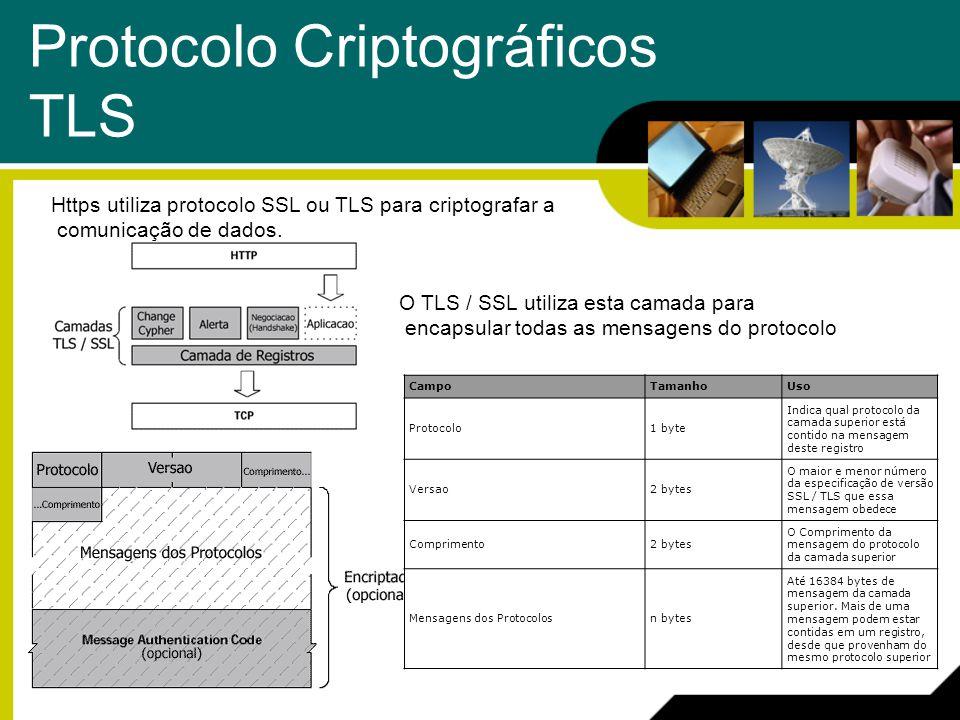 Protocolo Criptográficos TLS Https utiliza protocolo SSL ou TLS para criptografar a comunicação de dados. O TLS / SSL utiliza esta camada para encapsu
