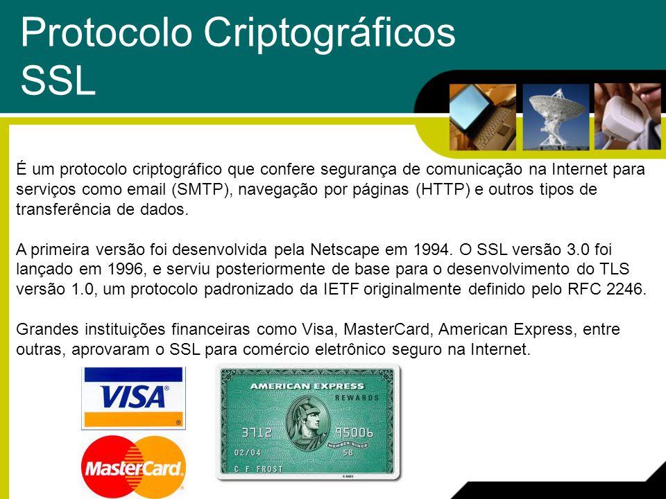 Protocolo Criptográficos SSL É um protocolo criptográfico que confere segurança de comunicação na Internet para serviços como email (SMTP), navegação