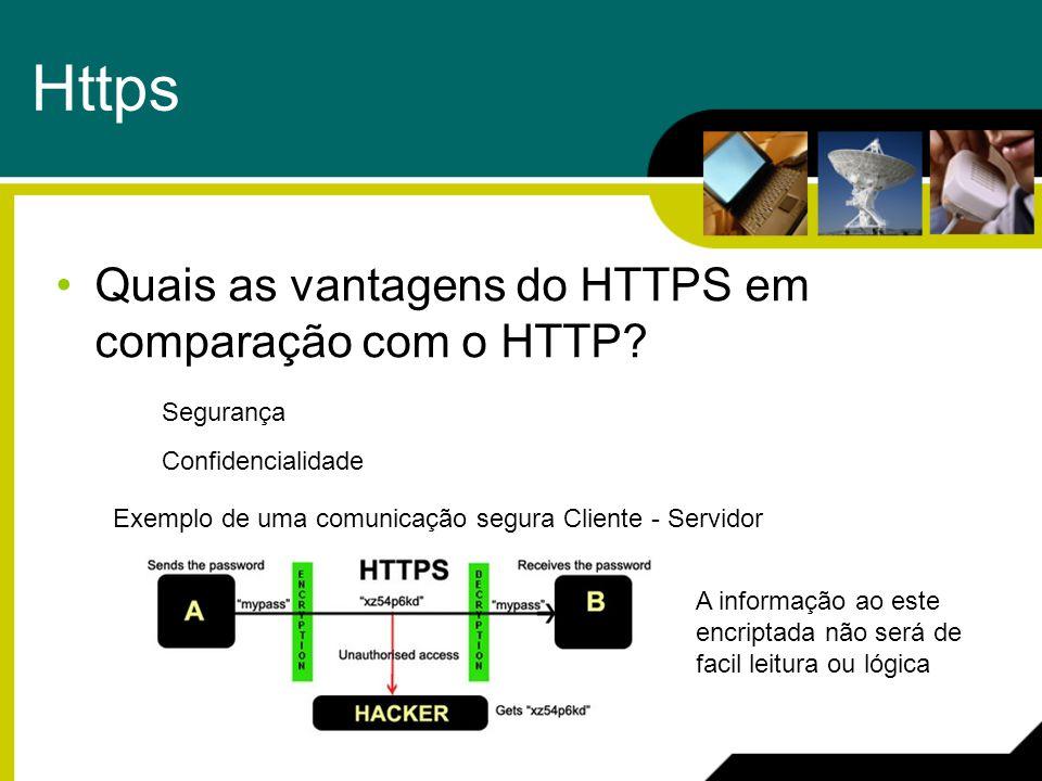 Https Quais as vantagens do HTTPS em comparação com o HTTP? Segurança Confidencialidade Exemplo de uma comunicação segura Cliente - Servidor A informa