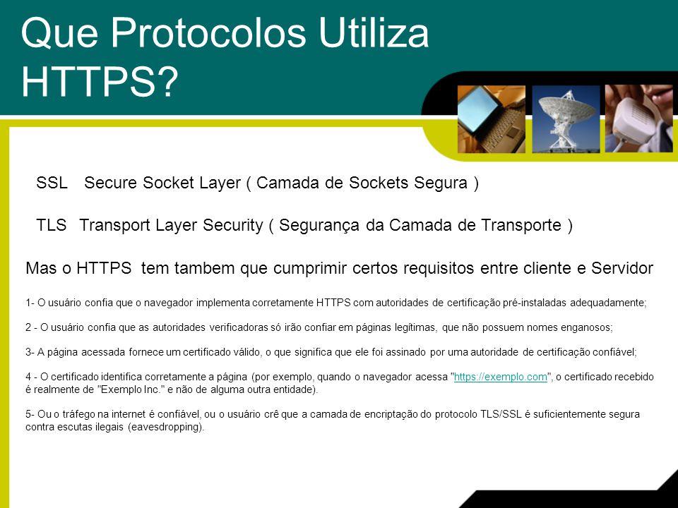 Que Protocolos Utiliza HTTPS? SSLSecure Socket Layer ( Camada de Sockets Segura ) TLSTransport Layer Security ( Segurança da Camada de Transporte ) Ma