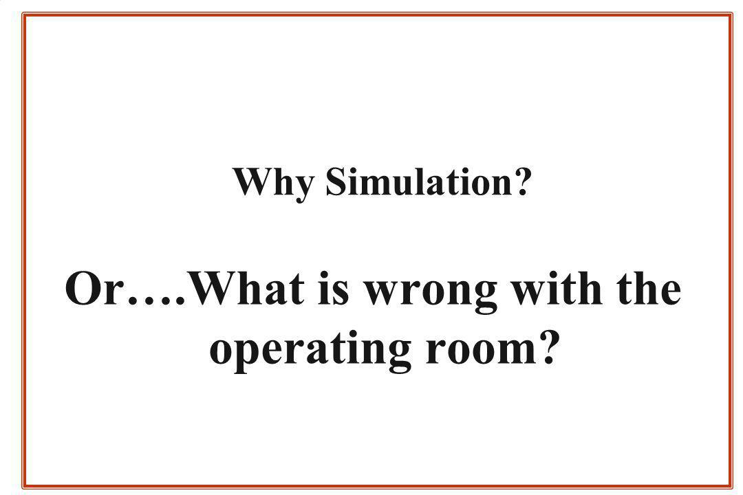 Why Simulation? Or….What is wrong with the operating room?