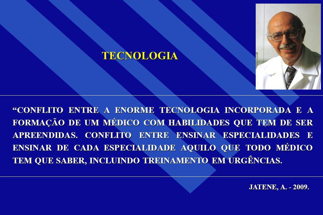 """TECNOLOGIA """"CONFLITO ENTRE A ENORME TECNOLOGIA INCORPORADA E A FORMAÇÃO DE UM MÉDICO COM HABILIDADES QUE TEM DE SER APREENDIDAS. CONFLITO ENTRE ENSINA"""