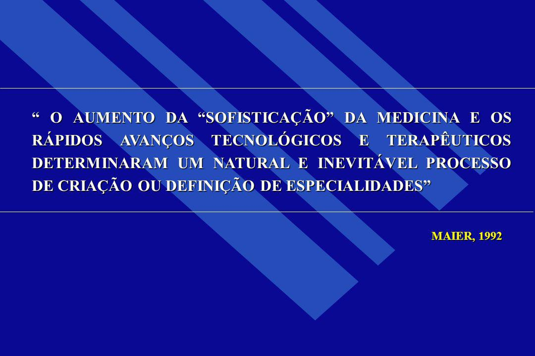 COMO RESULTADO DO AVANÇO CIENTÍFICO E TECNOLÓGICO E DO CRESCIMENTO DO CONHECIMENTO MÉDICO OS NOVOS E JOVENS MÉDICOS ASPIRAM SER SUPERESPECIALISTAS PATIÑO, 2002