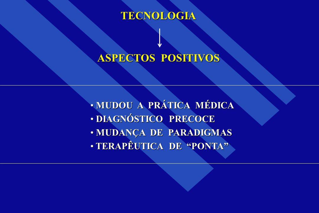 TECNOLOGIA ASPECTOS POSITIVOS MUDOU A PRÁTICA MÉDICA MUDOU A PRÁTICA MÉDICA DIAGNÓSTICO PRECOCE DIAGNÓSTICO PRECOCE MUDANÇA DE PARADIGMAS MUDANÇA DE P