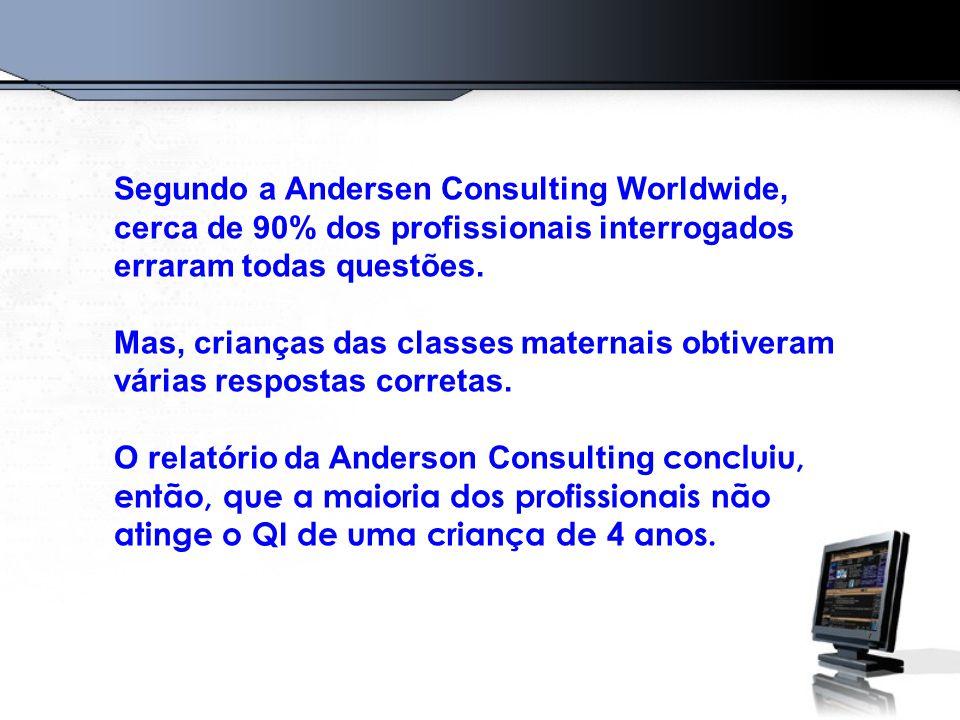 Segundo a Andersen Consulting Worldwide, cerca de 90% dos profissionais interrogados erraram todas questões. Mas, crianças das classes maternais obtiv