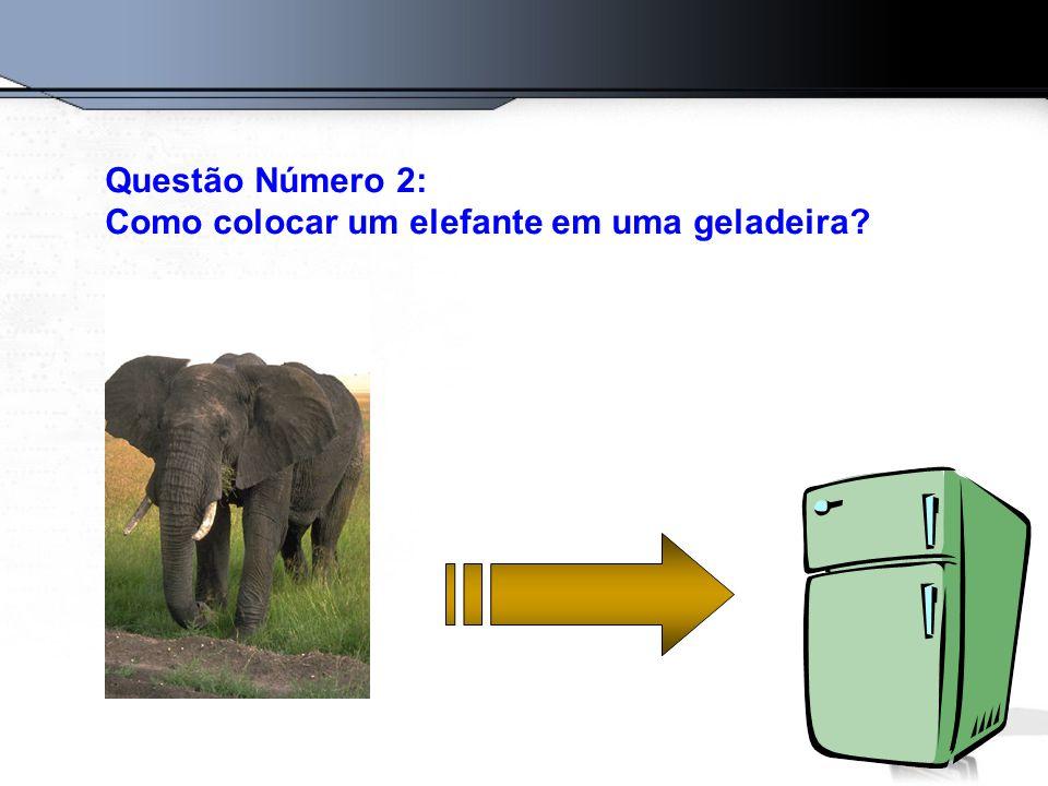 Questão Número 2: Como colocar um elefante em uma geladeira?
