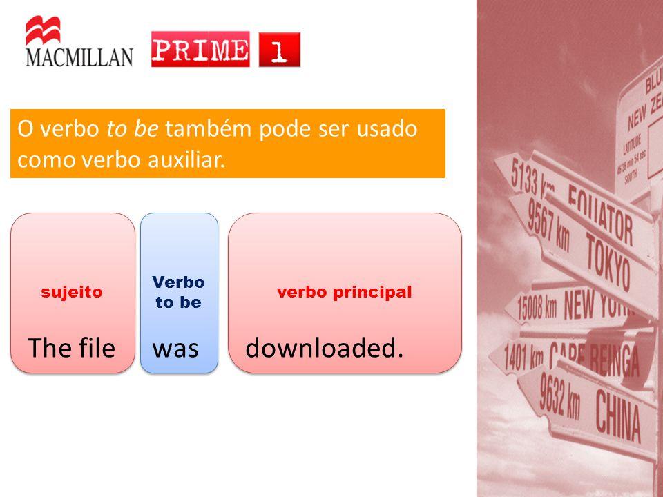verbo principal Verbo to be sujeito O verbo to be também pode ser usado como verbo auxiliar.