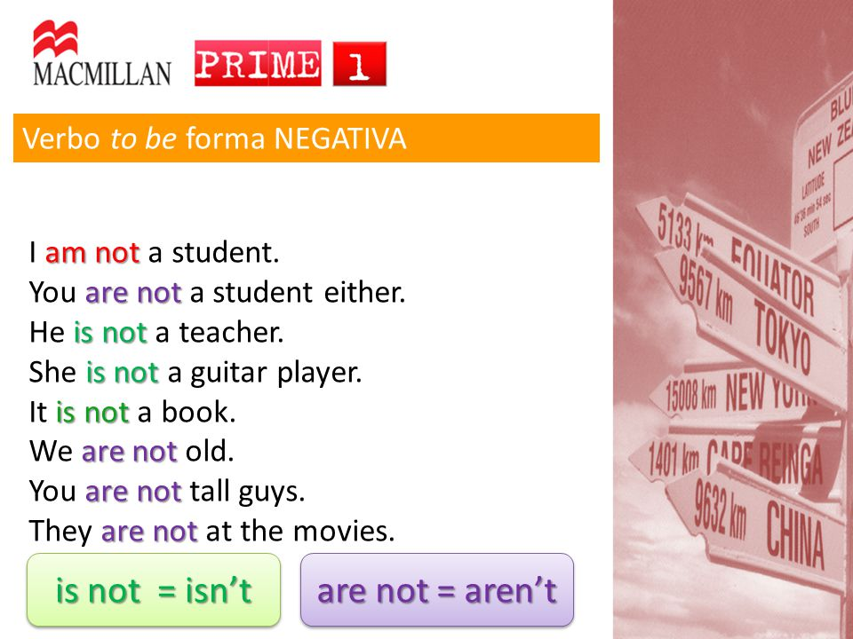 Verbo to be forma NEGATIVA am not I am not a student. are not You are not a student either. is not He is not a teacher. is not She is not a guitar pla