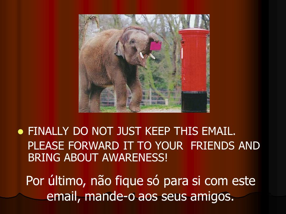FINALLY DO NOT JUST KEEP THIS EMAIL. PLEASE FORWARD IT TO YOUR FRIENDS AND BRING ABOUT AWARENESS! Por último, não fique só para si com este email, man