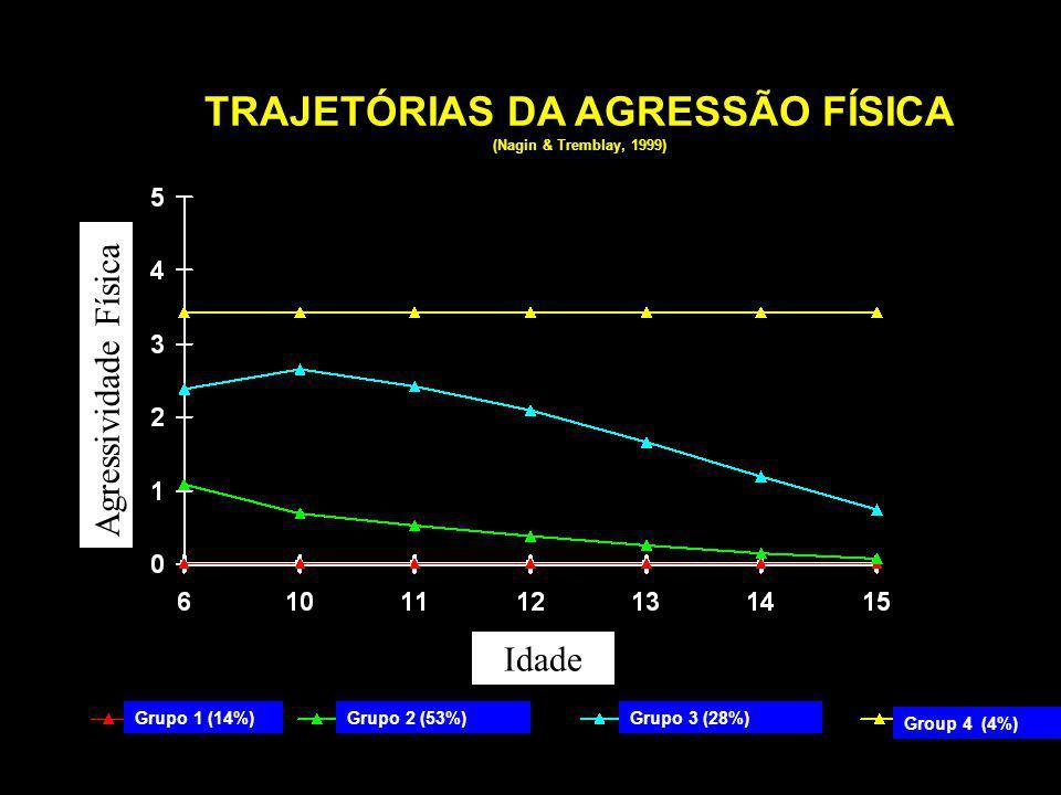 Group 4 (4%) Grupo 2 (53%)Grupo 3 (28%)Grupo 1 (14%) TRAJETÓRIAS DA AGRESSÃO FÍSICA (Nagin & Tremblay, 1999) Agressividade Física Idade