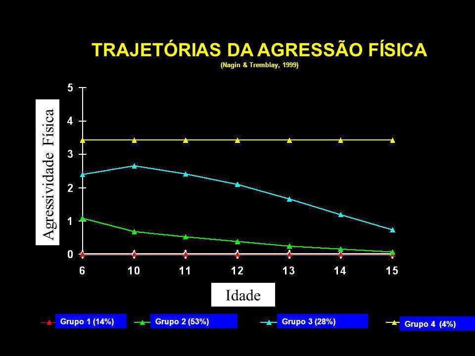 Grupo 4 (4%) Grupo 2 (53%)Grupo 3 (28%)Grupo 1 (14%) TRAJETÓRIAS DA AGRESSÃO FÍSICA (Nagin & Tremblay, 1999) Agressividade Física Idade