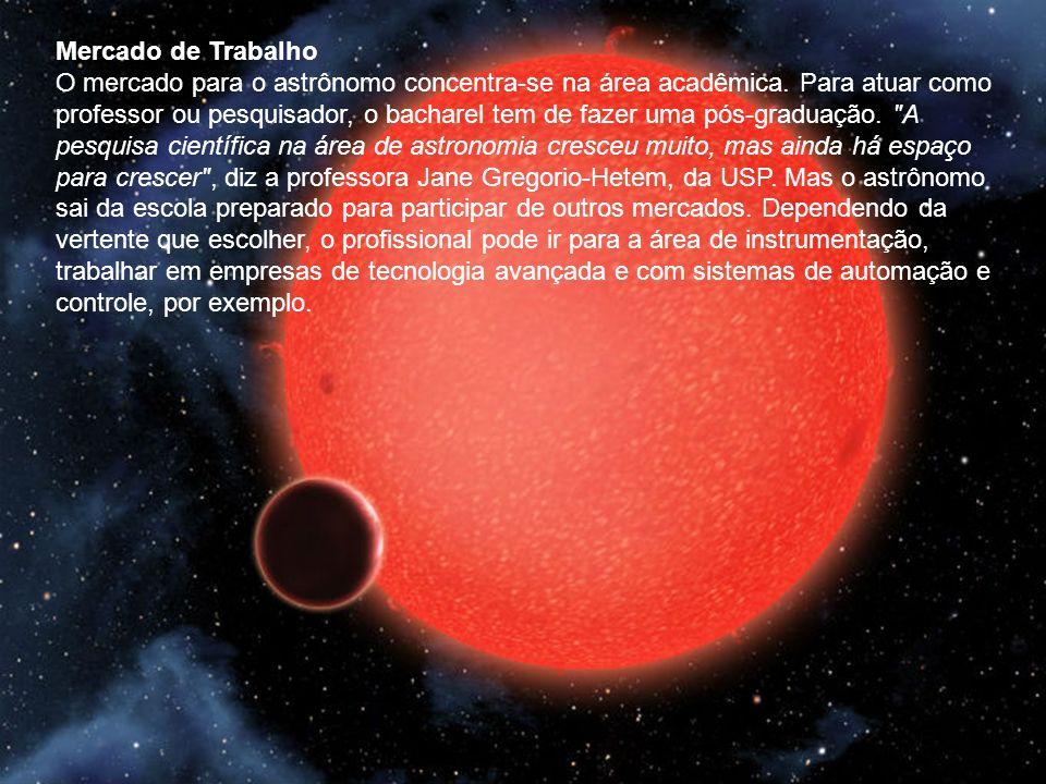 Mercado de Trabalho O mercado para o astrônomo concentra-se na área acadêmica.