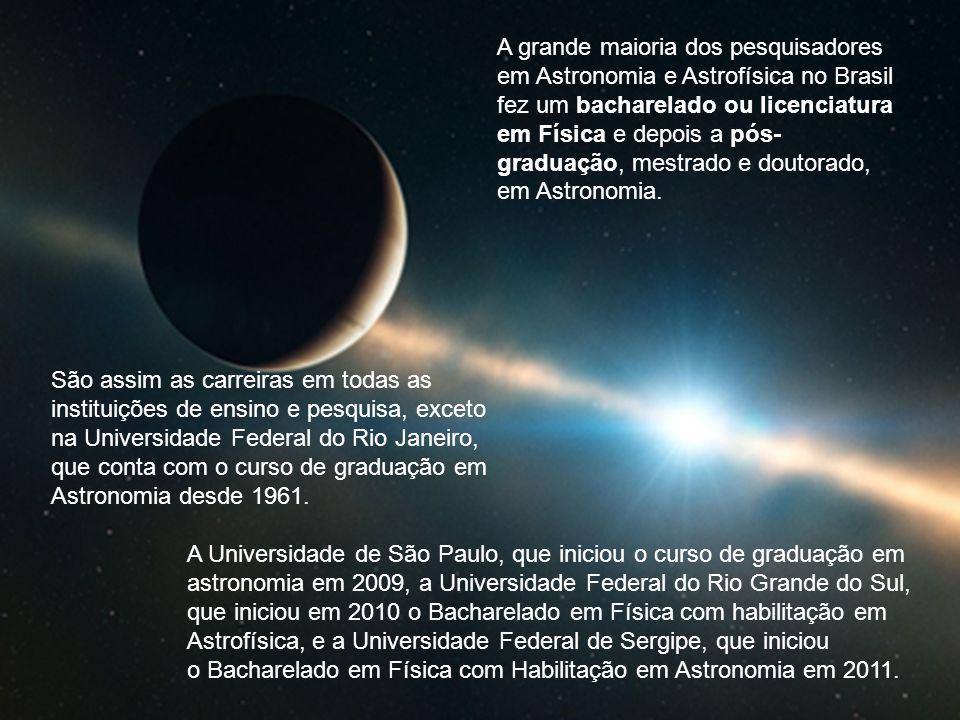 São assim as carreiras em todas as instituições de ensino e pesquisa, exceto na Universidade Federal do Rio Janeiro, que conta com o curso de graduação em Astronomia desde 1961.