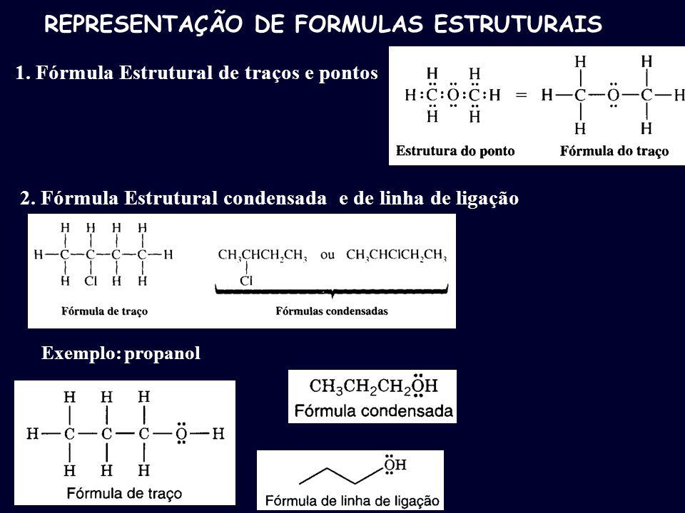 REPRESENTAÇÃO DE FORMULAS ESTRUTURAIS 1. Fórmula Estrutural de traços e pontos 2. Fórmula Estrutural condensada e de linha de ligação Exemplo: propano