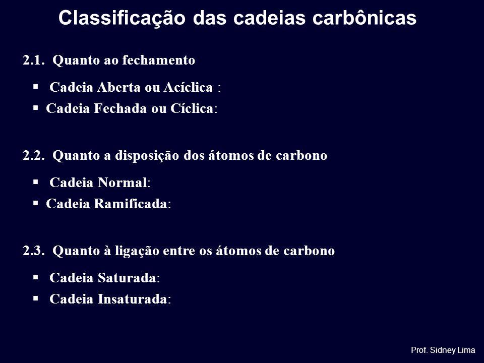 2.1. Quanto ao fechamento  Cadeia Aberta ou Acíclica :  Cadeia Fechada ou Cíclica: 2.2. Quanto a disposição dos átomos de carbono  Cadeia Normal: 