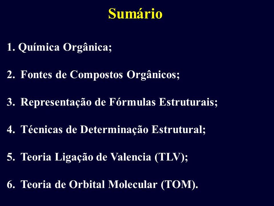 Sumário 1. Química Orgânica; 2.Fontes de Compostos Orgânicos; 3.Representação de Fórmulas Estruturais; 4.Técnicas de Determinação Estrutural; 5.Teoria