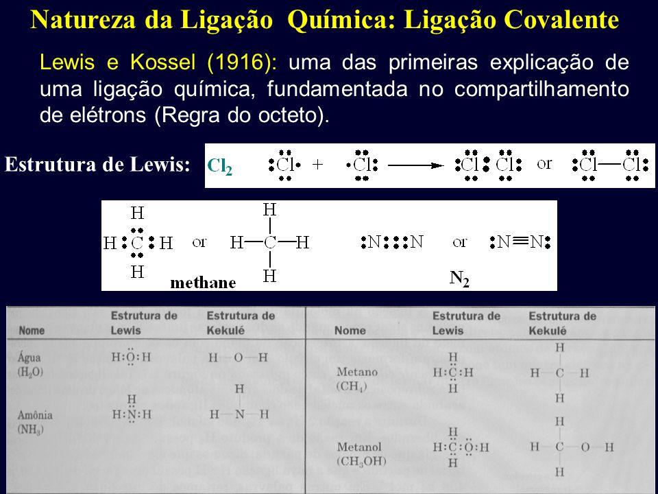 Natureza da Ligação Química: Ligação Covalente Lewis e Kossel (1916): uma das primeiras explicação de uma ligação química, fundamentada no compartilha