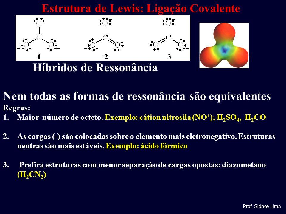 Estrutura de Lewis: Ligação Covalente Prof. Sidney Lima Híbridos de Ressonância Nem todas as formas de ressonância são equivalentes Regras: 1.Maior nú