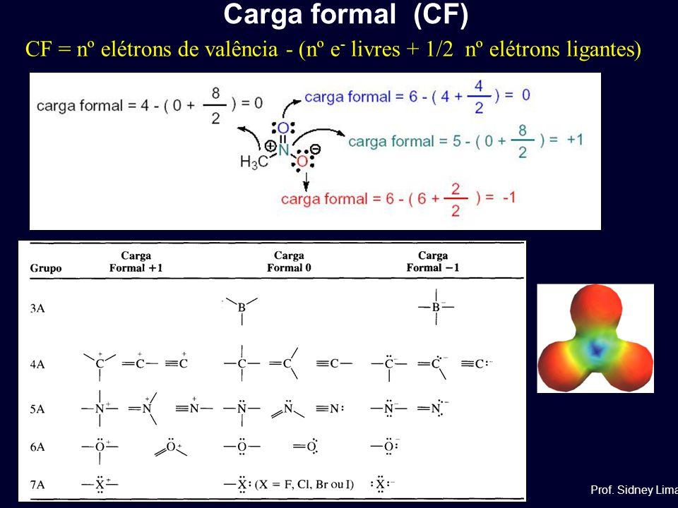 CF = nº elétrons de valência - (nº e - livres + 1/2 nº elétrons ligantes) Carga formal (CF) Prof. Sidney Lima